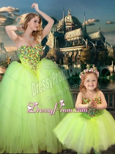 2016 New Arrivals Beaded Really Puffy Latest Prom Dress in Yellow Green and Classical Spaghetti Straps Little Girl Dress with Beading
