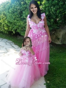 Beautiful 2016 Deep V Neckline Prom Dress with Appliques and Hot Sale Rose Pink Little Girl Dress with See Through Scoop