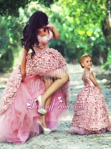 Exquisite High Low Prom Dress in Special Material and Perfect Applique Little Girl Dress with Straps