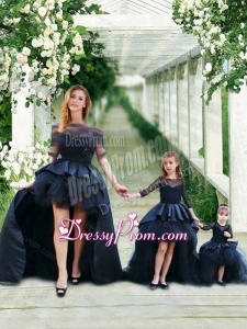 Fashionable High Low Navy Blue Prom Dress with Bateau and Gorgeous See Through 3/4 Length Sleeves Little Girl Dress with Scoop and New Style High Low Tobbler Dress with Long Sleeves