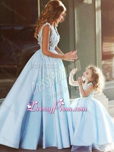 Luxurious V Neck Satin Prom Dress with Appliques and Most Popular Big Puffy Little Girl Dress with Straps