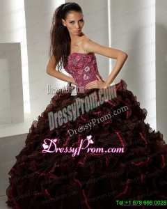 2015 Cheap Multi Color Quinceanera Gowns with Ruffles and Appliques