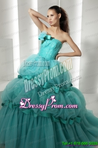 Cheap Floor Length 2015 Quinceanera Dresses with Hand Made Flowers and Beading
