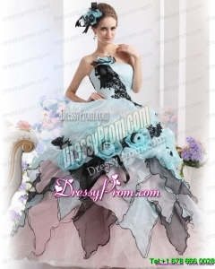 Ruffles Multi Color 2015 Cheap Quinceanera Dresses with Hand Made Flowers