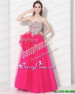 2015 Cheap Hot Pink Sweet Sixteen Dresses with Rhinestones