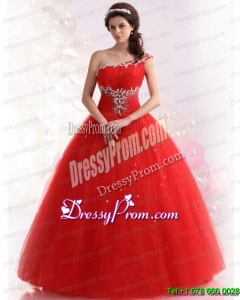2015 Cheap Red One Shoulder Sweet 15 Dresses with Rhinestones