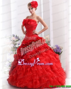 2015 Cheap Strapless Dresses for a Quinceanera with Hand Made Flowers