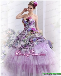 Cheap 2015 Multi Color Sweet Sixteen Dresses with Hand Made Flowers and Ruffles
