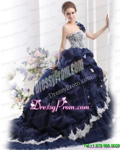 2015 Pretty One Shoulder Ruffles Quinceanera Dresses with Hand Made Flowers and Pick Ups