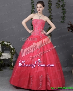 Cheap Coral Red Strapless Sweet 16 Dress with Ruching and Appliques