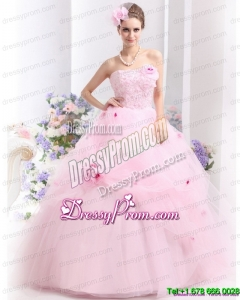 Pretty Baby Pink Sweet Sixteen Dresses with Hand Made Flowers