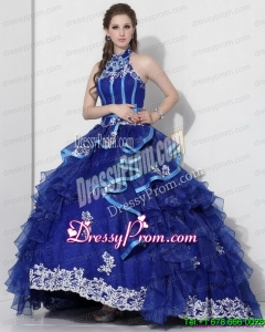 Pretty Halter Top Appliques Blue 2015 Quinceanera Dresses with Ruffles and Brush Train