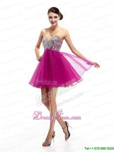 2015 Beautiful Hot Pink Sweetheart Prom Dresses with Rhinestone