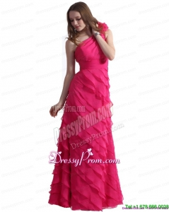 2015 One Shoulder Prom Dresses with Ruffled Layers and Hand Made Flower