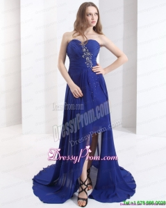 2015 Sweetheart Prom Dress with Beading and Brush Train