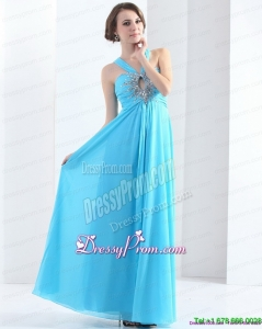 Designer 2015 Gorgeous Halter Top Floor Length Prom Dress with Ruching and Beading