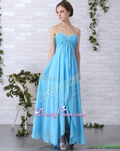 Designer 2015 Gorgeous Long Prom Dresses with Ruching and Beading