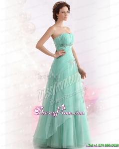 Designer Appple Green Sweetheart Prom Dresses with Ruching and Beading
