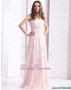 Designer Baby Pink Strapless Prom Dresses with Ruching and Beading
