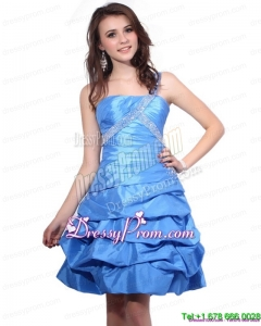 Designer One Shoulder Baby Blue Prom Dresses with Pick Ups and Beading
