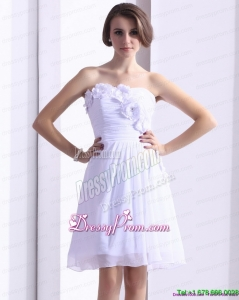 Designer White Strapless Prom Dresses with Ruching and Hand Made Flower