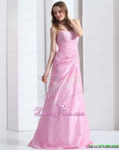 2015 Cheap Baby Pink Sweetheart Prom Dress with Beading and Ruching