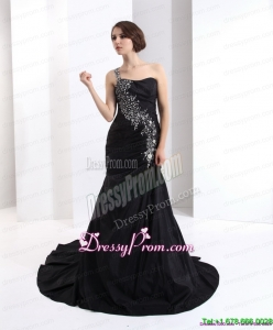 2015 Plus Size One Shoulder Prom Dress with Brush Train