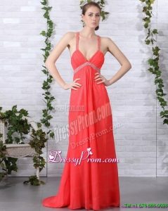 Cheap Spaghetti Straps Prom Dresses with Ruching and Beading