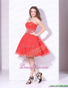 Clearance 2015 Sweetheart Beading Mini Length Prom Dress in Red