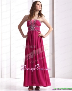 Clearance Strapless Floor Length 2015 Prom Dress with Beading