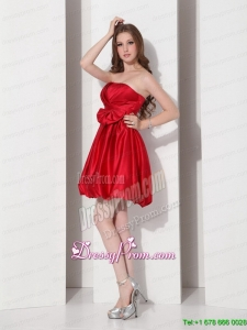 Designer 2015 Gorgeous Strapless Bowknot Mini Length Prom Dress in Red