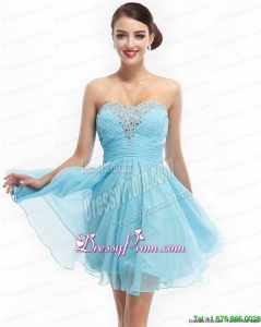 Fashionable Ruching Strapless Beading Short Prom Dresses for 2015