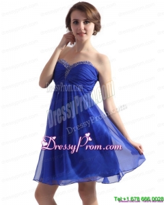 Fashionable Sweetheart Blue 2015 Prom Dresses with Beading and Ruching