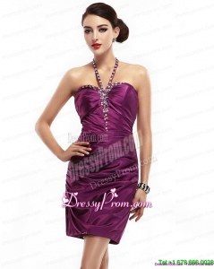 Vintage 2015 Halter Top Short Dama Dresses with Ruching and Beading