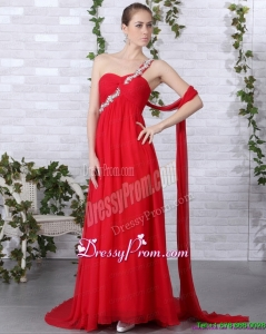 Fashionable 2015 One Shoulder Red Prom Dress with Beadings and Brush Train