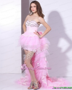 Fashionable Baby Pink Ruffled One Shoulder Prom Dresses with Hand Made Flower and Beading