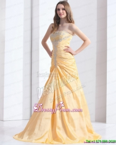 Fashionable Brush Train Gold Prom Dresses with Ruching and Beading