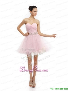 On Sale Baby Pink Sweetheart Ruching Short Prom Dresses for 2015