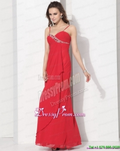 On Sale Red Spaghetti Straps Prom Dresses with Ruching and Beading