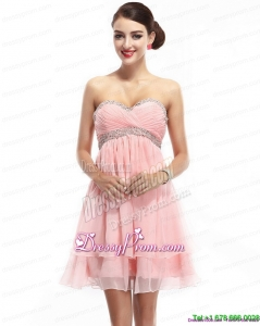 Plus Size Sweetheart 2015 Prom Dress with Beading and Ruching