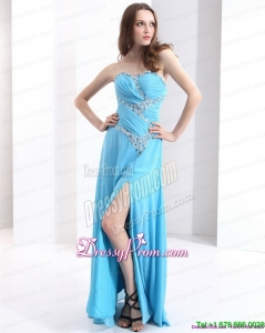 Vintage Affordable Sweetheart Ruching 2015 Prom Dresses with Beading and High Slit