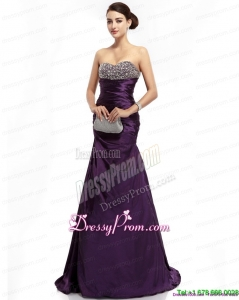 2015 On Sale Brush Train Prom Dress with Ruching and Beading