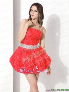 High End Short Prom Dresses with Rolling Flowers and Beading