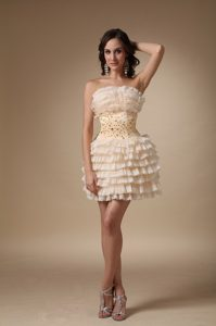 Fitted Ruffled Beaded Champagne Mini Prom Cocktail Dresses