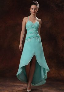 Spaghetti Straps Crisscross Back Turquoise High-low Prom Dress