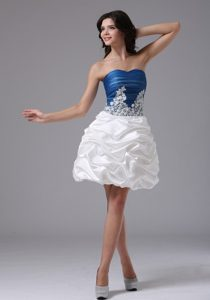 Pretty Blue and White Pick Ups Appliqued Prom Cocktail Dress