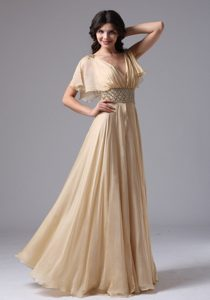 Fast Shipping Champagne Ruched Beaded Prom Graduation Dress