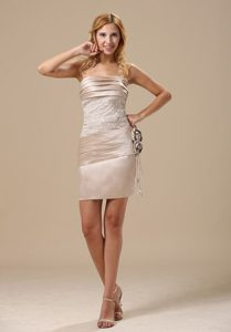 Design Strapless Flowers Ruched Mini Champagne Prom Dresses