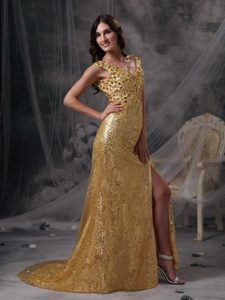 Popular V-Neck Rhinestones Sequins Gold Prom Evening Dress
