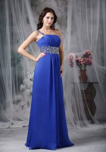 Simple Style Royal Blue One Shoulder Beaded Prom formal Dress
